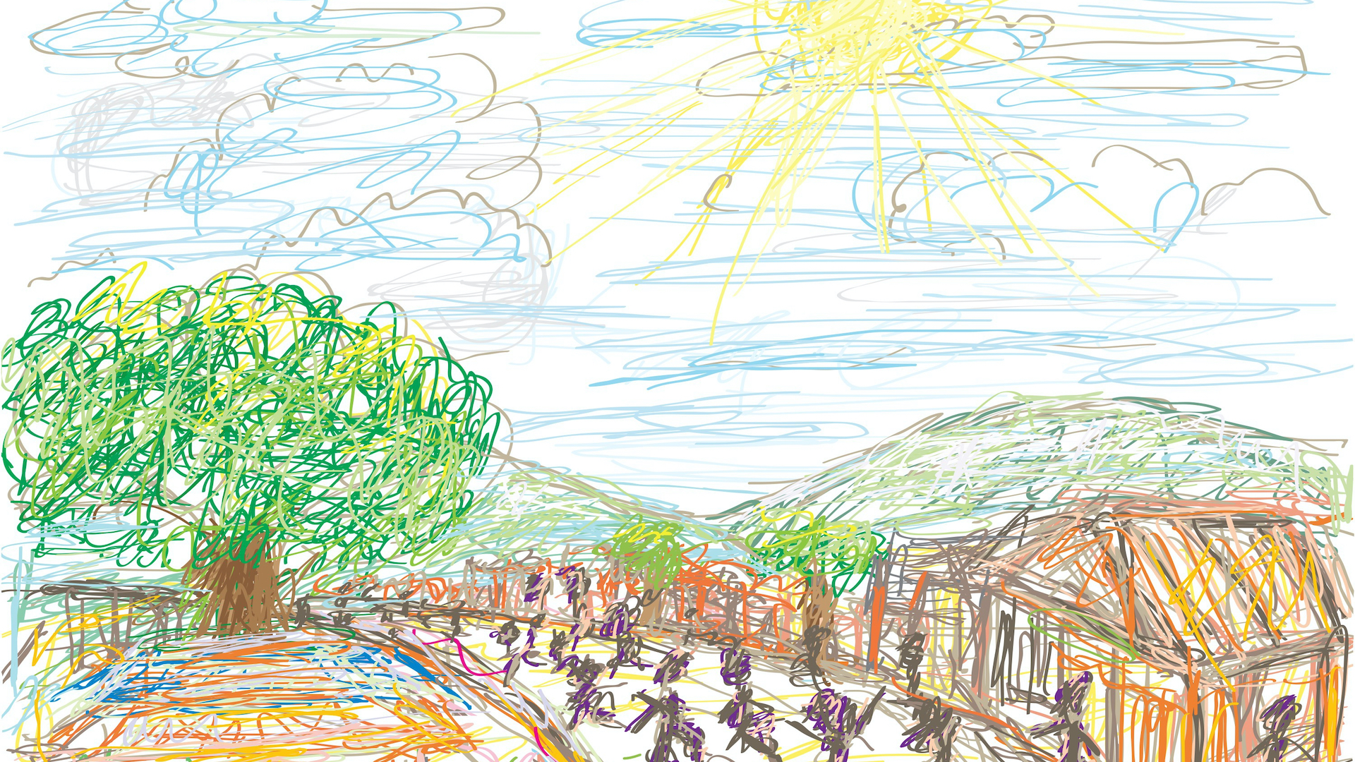 hand drawn picture of a community with people, buildings, trees and the sun shining